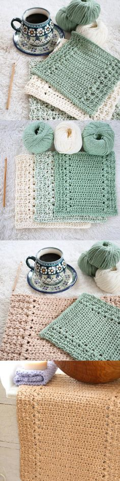 River's Edge Dishcloth and Hand Towel Set crochet pattern