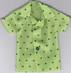 Homemade Doll Clothes-Beautiful Green Floral Print Shirt that fits Ken Doll B3