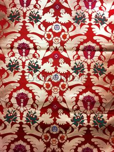 Red Nanjing Brocade with Colorful Flower Pattern