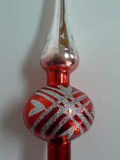 1950s - Christmas Tree Topper with Heart Design, RED Tree Topper,  Mercury Glass Top