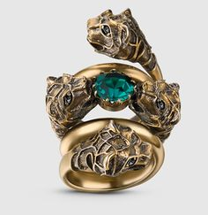 Gucci - double wrap ring with tiger heads 401983I59968488