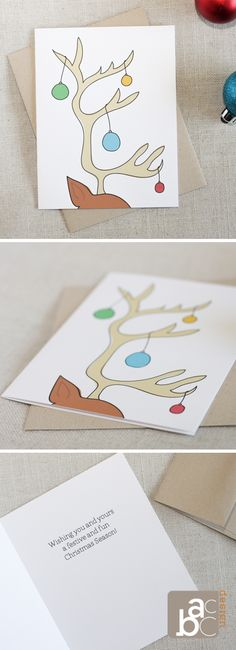 Illustrated Reindeer Antler Christmas Card by acbc Design