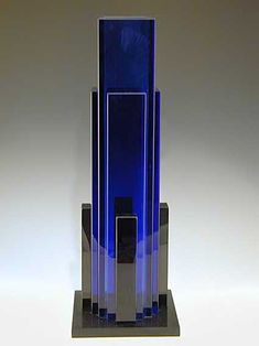 Fontana Arte  Sottsass  Blue glass vase  Italy  1981