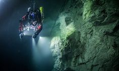 Explorers have reportedly discovered the world's deepest underwater cave found in the eastern Czech Republic. Found near the town of Hranice, the Hranice Abyss or the Hranicka Propast goes at least 404 meters or feet deep. Underwater Caves, Underwater Life, Underwater Photos, Underwater Photography, Robot, Our Adventure Book, Best Scuba Diving, Cave Diving, Camping And Hiking