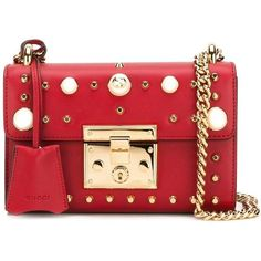 Gucci Padlock Studded Shoulder Bag (9.225 BRL) ❤ liked on Polyvore featuring bags, handbags, shoulder bags, red, leather shoulder handbags, shoulder strap handbags, gucci shoulder bag, shoulder hand bags and red handbags