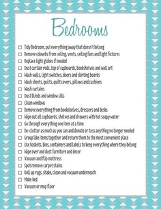 Take a look at the best checklists to clean your bedroom for adults and kids in the photos below and get ideas for your own spring cleaning routine! Has it been forever since you have cleaned out your closets, drawers… Continue Reading → Room Cleaning Tips, Spring Cleaning Checklist, Cleaning Hacks, Bedroom Cleaning, Cleaning Schedules, Zone Cleaning, Weekly Cleaning, Organizing Tips, Deep Cleaning Lists