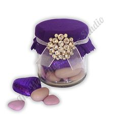 Purple Diamante Favour Jar. Filled with your choice of sweets or chocolate, perfect for an elegant or lilac theme. Unique and personalised for your Wedding.