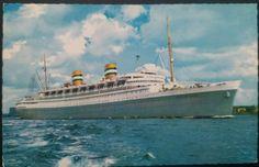 postcard of the SS Nieuw Amsterdam New Amsterdam, Holland America Line, Titanic, Rotterdam, New York Skyline, Angeles, Ocean, History, Travel