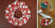Kreatívny DIY nápad s návodom krok za krokom ako vyrobiť jednoduchý dekoračný veniec zo stúh. Lacná, jednoduchá a hlavne krásna dekorácia na Vianoce