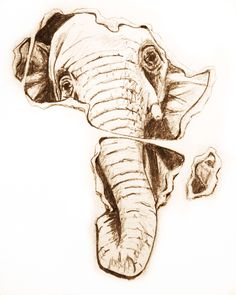 african elephant tattoo design maybe like this.
