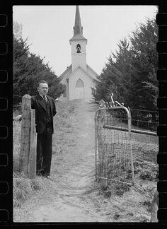 Lutheran church and pastor, Monona County, Iowa