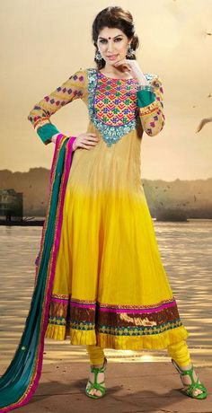 $92.59 Yellow Embroidered Chiffon Long Anarkali Salwar Kameez 25937