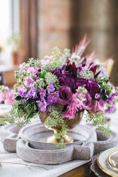 #Centerpiece   #Purple   More Wedding Inspiration on SMP: http://www.StyleMePretty.com/texas-weddings/2014/01/02/fall-wedding-inspiration-at-praetorian/ Rachel Whyte