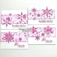 Gorgeous cards created with half sheet wonder using Snowflake Wishes stamp set and Magenta Madness.
