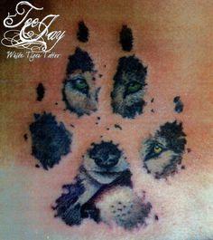 Pinterest wolf Tattoos for Women | Pin Wolf Inside Pawprint Tattoo on Pinterest