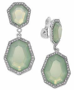 Charter Club Silver-Tone Mint Stone Double Drop Clip-On Earrings