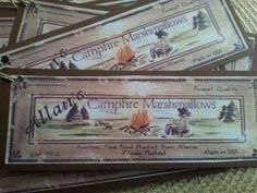 Vintage Marshmallows Label Tags . Would look cute tied on to all the fixings for Smores as a Favor for a Shower or Birthday.  Cute !