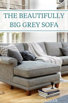 Grey sofas are still some of the most popular for homes in the UK. Large grey sofas are perfect as a neutral sofa for any style or colour of home decor. And the bigger the better right? Corner Sofa Uk, Corner Sofa Bed With Storage, Cushions For Grey Sofa, Gray Sofa, Living Room Sofa, Home Living Room, Living Room Decor, Neutral Sofa, Monochrome Interior