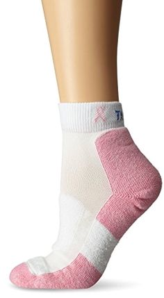 #Women's Thin Padded Pink Walking Ankle Socks,white/pink,#Medium/10 Ladies 7-9 Made by #Thorlo Color #White/Pink. Cushioned arch for a better fit, more support and more comfort.. Constructed with THOR-WICK COOL fibers for superior moisture-wicking for drier, cooler feet.. Low profile toe seam won't rub or irritate feet.. Padding in the ball and heel specifically engineered for protection and comfort while walking.. Ankle Length, Thin Cushion