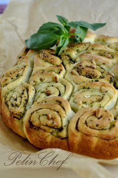 Pesto Bread. Love this idea, and it looks like it's easily adapted to garlic bread. Any ol' dough with garlic butter will do.