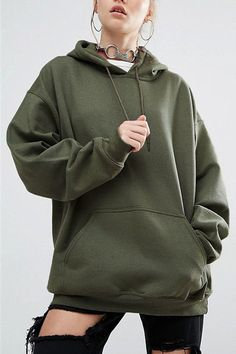 Army-green Front Pouch Pocket Design Loose Hooded Hoodies & Sweatshirts - US$19.95 -YOINS