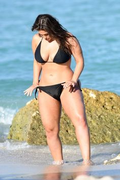 Ashley Graham in Black Bikini For Photoshoot on the beach in Miami – March 2018