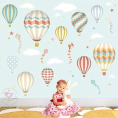 Hot Air Balloon Decal feat. Kites Stars by EnchantedInteriorsUK