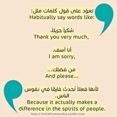 تعوّد على قول كلمات مثل: To habitually say words like:  شكراً جزيلاً، Thank you very much,   أنا آسف، I am sorry,   من فضلك... And please...   لأنها فعلاً تُحدث فارقًا في نفوس الناس. Actually makes a difference in the spirits of people.