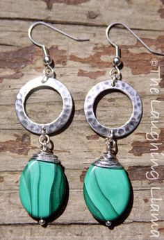 Malachite Wire Wrapped Dangle Earrings by TheLaughingLlama on Etsy, $18.00 #Etsy