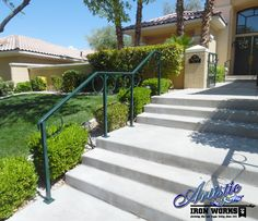 Circles add a simple uniqueness to these exterior wrought iron railings and built to match the front gate. Iron Railings, Front Gates, Wrought Iron, Circles, Nature, Stairs, Exterior, Simple, Building