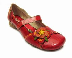 Davina - Flat Flower Shoes (Red) £55.00 - Yoma Shoes & Boots - Flats Yoma Shoes LOVE!