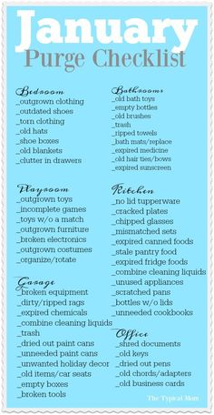 declutter Free printable January purge checklist that helps you purge and clean your house room by room. Monthly organization printables that are so helpful! Konmari, House Cleaning Tips, Cleaning Hacks, Diy Hacks, Cleaning Schedules, Fall Cleaning Checklist, Clean House Tips, Household Cleaning Schedule, Chore Checklist