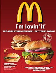 """This advertisement uses Mcdonald's well-known SLOGAN """"I'm lovin' it"""" to promote its new burger menu, playing on customer loyalty. Restaurant Ad, Fast Food Restaurant, Hamburgers, Mcdonalds, Fast Food Advertising, Advertising Agency, Creative Advertising, Print Advertising, Food Fails"""