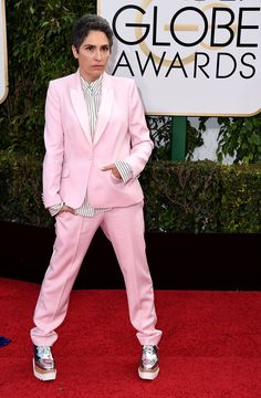 2016 Golden Globes' Best Dressed — See The Fab Red Carpet Fashion Elle Fashion, Queer Fashion, Tomboy Fashion, Golden Globes 2016, Golden Globe Award, Formal Pants, Hollywood Life, Red Carpet Looks, Celebrity Dresses