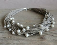 Pearl  necklace / natural linen necklace / wedding necklace / rustic jewelry