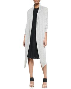 Oversize Knit Tie-Waist Cardigan & Pleated Chiffon A-Line Dress by Vince at Neiman Marcus.