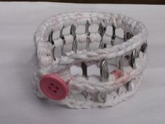 Crocheted Pink and White Cotton Pop Tab Button Bangle Bracelet