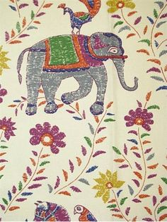 """Mahout Multi:John Robshaw Designer Fabric - Blockprint Textiles. Perfect drapery fabric or light use upholstery fabric. 55% cotton, 45% linen. Repeat: V: 27 H: 27, Duraguard finish. Made in U.S.A. 21035-215. 54"""" wide"""