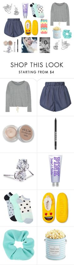 """lazy day"" by cj34turtles on Polyvore featuring Eberjey, STELLA McCARTNEY, Stila, Lord & Taylor, M&Co, Emoji, Topshop, The Hampton Popcorn Company and Casetify"