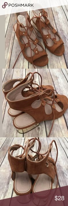 "Topshop gladiator heel lace up brown 37 6.5 Euc Adorable & very trendy !  Only worn a few times   Size 37 = us size 6.5""    Smoke/pet free home Topshop Shoes Sandals"