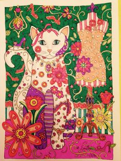 Fashion Cat In Crayola Supertips And Gel Pen From Creative Cats By Marjorie Sarnat Coloured Hazel Smithies