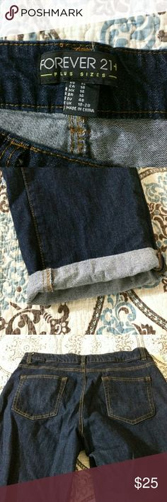 Forever 21 skinny cropped cuffed jeans Excellent condition! NWOT. Dark Blue Size 14, never worn but washed to see if would shrink. Forever 21 Jeans Ankle & Cropped