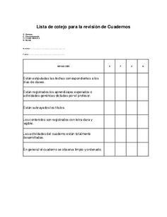 Lista de cotejo para la revisión de cuadernos School Plan, I School, English Class, Teaching English, Class Tools, English Activities, Class Activities, School Items, Cooperative Learning