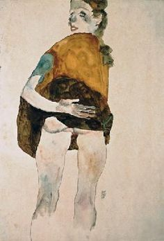 Egon Schiele - Stationary girl with an elevated skirt.