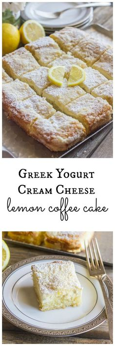 Greek Yogurt Cream Cheese Lemon Coffee Cake – Lovely Little Kitchen Homemade Greek Yogurt Cream Cheese Lemon Coffee Cake! This delicious dessert is perfect to celebrate that special someone or to serve to your family and friends! Lemon Desserts, Lemon Recipes, Köstliche Desserts, Greek Recipes, Baking Recipes, Delicious Desserts, Yummy Food, Lemon Cakes, Greek Dessert Recipes