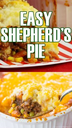 Easy Shepherd's Pie Easy Shepherd's Pie - a simple version of the classic comfort food casserole. Ground beef and vegetables are topped with mashed potatoes and cheddar cheese in this family-favorite dinner that is gluten free too. Easy Pie Recipes, Easy Dinner Recipes, Easy Meals, Cooking Recipes, Simple Food Recipes, Hamburger Meat Recipes Easy, Hamburger Pie, Dinner Ideas, Cake Recipes