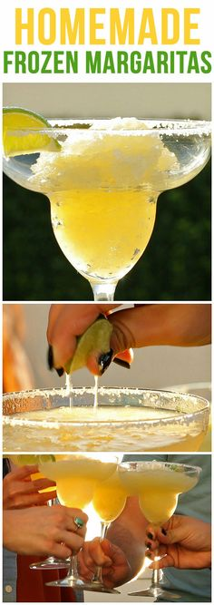 Get Happy Hour Started Off Right With These Homemade Frozen Margs - Site Title Fruity Mixed Drinks, Mixed Drinks Alcohol, Drinks Alcohol Recipes, Refreshing Drinks, Summer Drinks, Drink Recipes, Punch Recipes, Summer Food, Dessert Drinks