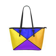 diagonals blue tetrad Leather Tote Bag/Large (Model 1651)