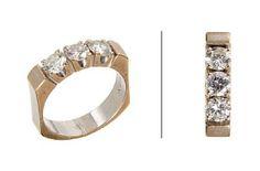 RING  Hvitt gull. 14 K. Fattet med tre brillianter på til sammen 1,05 ct. Totalvekt: 6,5 g. Antatt kvalitet: Wesselton SI VS SI STØRRELSE 52,5 Wedding Rings, Engagement Rings, Jewelry, Enagement Rings, Jewlery, Jewerly, Schmuck, Jewels, Jewelery