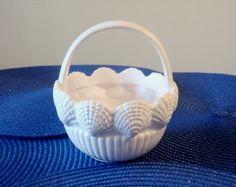 1982 Fitz Floyd Porcelain Shells Flower Girl White Basket by ChicEventsDecor on Etsy